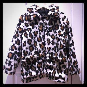 Topshop leopard print sherpa jacket size 2